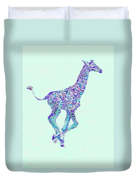 Duvet Cover featuring the digital art Purple And Aqua Running Baby Giraffe by Jane Schnetlage
