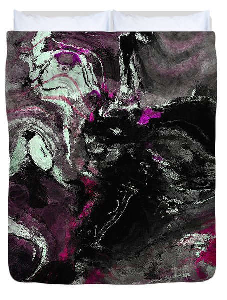 Duvet Cover featuring the painting Purple And Black Minimalist / Abstract Painting by Ayse Deniz