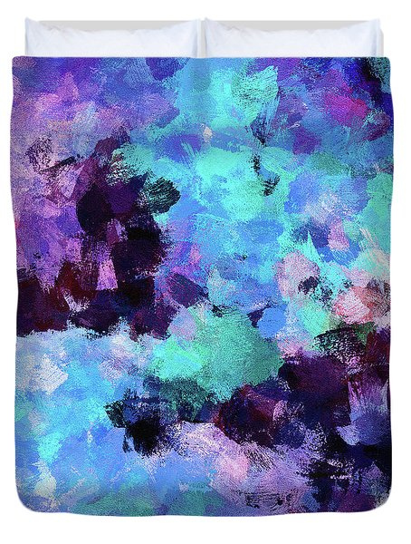 Duvet Cover featuring the painting Purple And Blue Abstract Art by Ayse Deniz