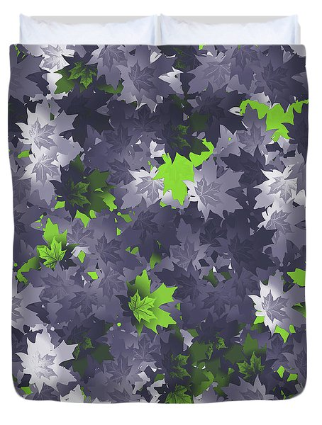 Duvet Cover featuring the digital art Purple And Green Leaves by Methune Hively