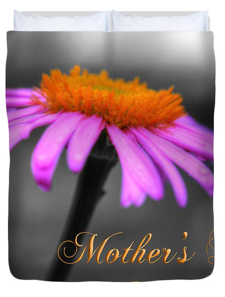 Duvet Cover featuring the photograph Purple And Orange Coneflower Mothers Day Brunch by Shelley Neff