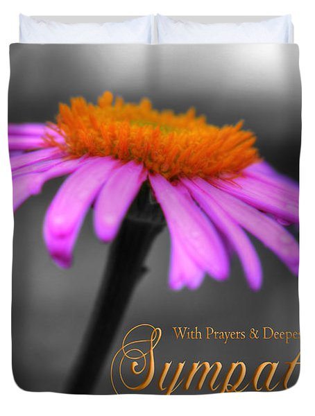 Duvet Cover featuring the photograph Purple And Orange Coneflower With Sympathy by Shelley Neff