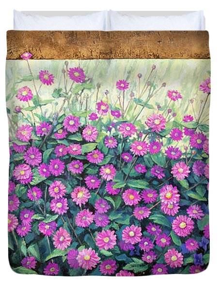Purple And Pink Flowers Duvet Cover