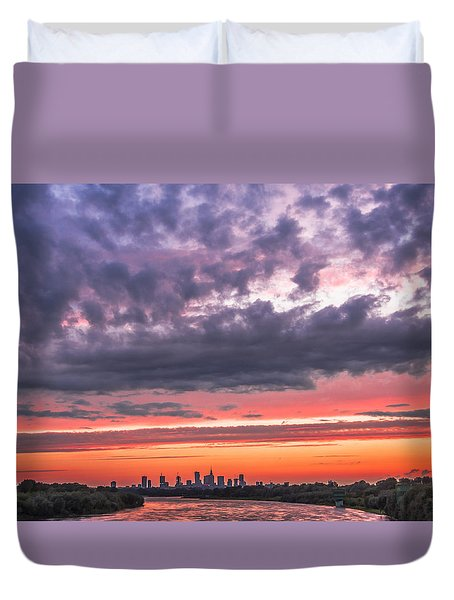 Purple And Red Sky Over Warsaw And Vistula River Duvet Cover by Julis Simo