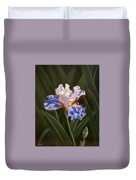 Purple And White Iris Duvet Cover