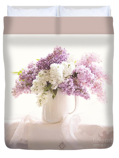 Duvet Cover featuring the photograph Purple And White Lilacs Still Life by Sylvia Cook