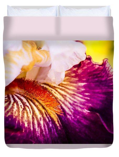 Purple And Yellow Iris Blossom Duvet Cover