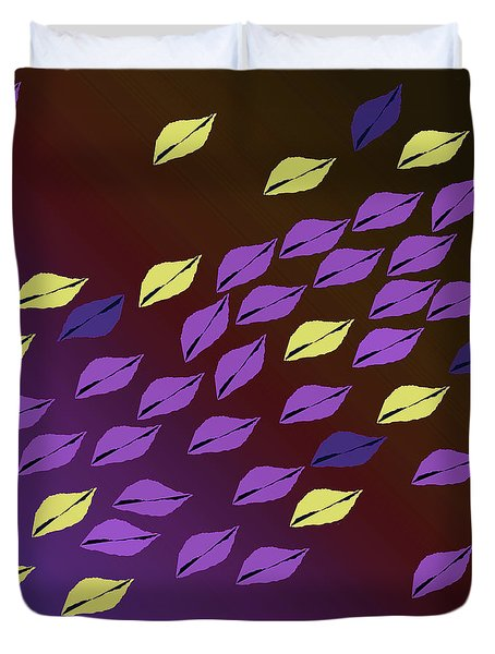 Duvet Cover featuring the digital art Purple And Yellow Leaf Pattern by Mary Bedy