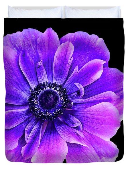 Purple Anemone Flower Duvet Cover by Mariola Bitner