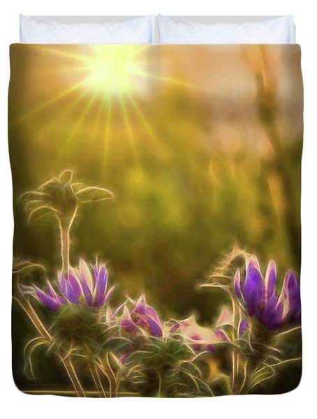 Purple Aster Glow Duvet Cover