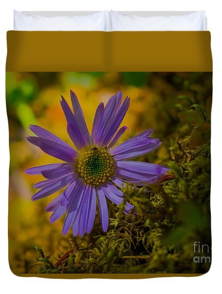 Purple Aster On Forest Floor Duvet Cover