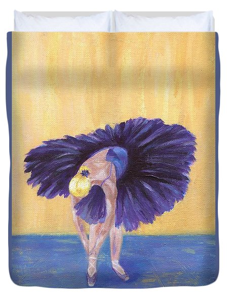 Duvet Cover featuring the painting Purple Ballerina by Jamie Frier
