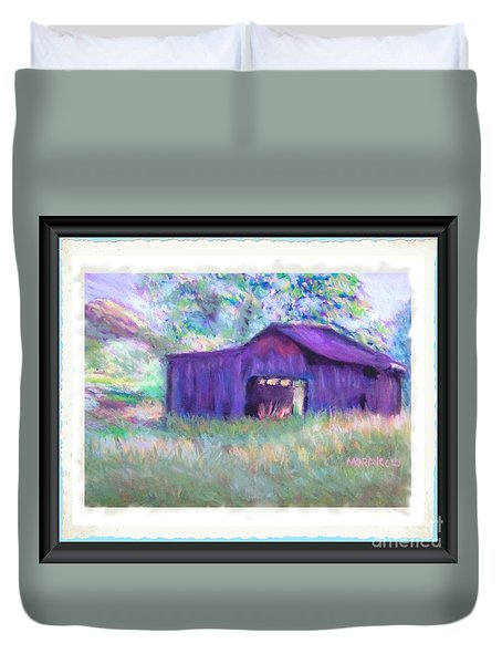 Purple Barn With Frame Duvet Cover