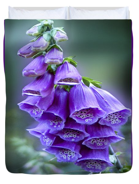Purple Bell Flowers Foxglove Flowering Stalk Duvet Cover
