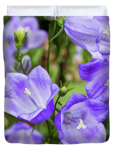 Purple Bell Flowers Duvet Cover