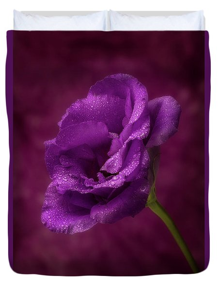 Purple Blossom With Morning Dew Duvet Cover