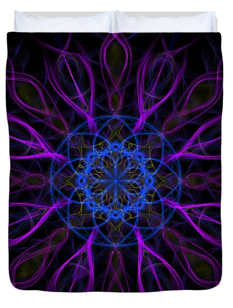 Duvet Cover featuring the photograph Purple Blue Kaleidoscope Square by Adam Romanowicz