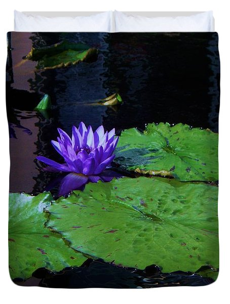 Purple Blue  Lily Duvet Cover by Eric  Schiabor