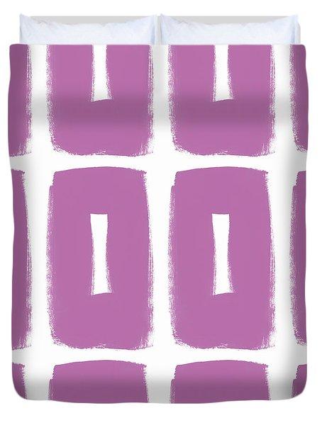Purple Boxes- Art By Linda Woods Duvet Cover by Linda Woods