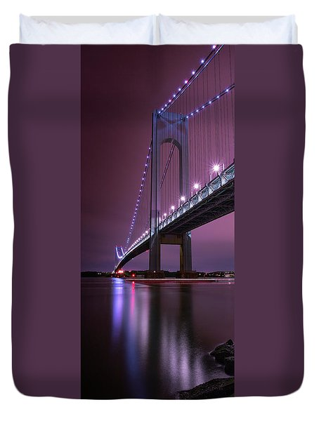 Duvet Cover featuring the photograph Purple Bridge by Edgars Erglis