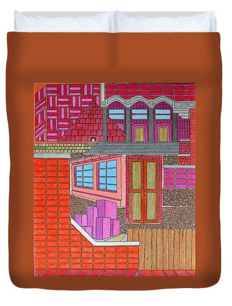 Purple Buildings Duvet Cover
