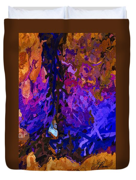 Duvet Cover featuring the painting Purple Cave by Joan Reese