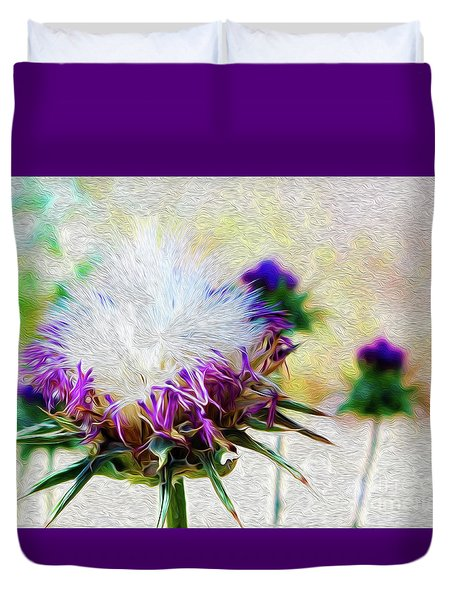 Purple Chaparral  Duvet Cover