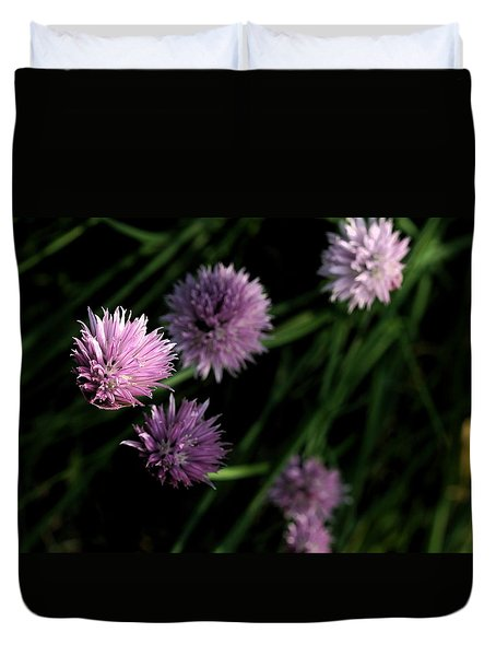 Duvet Cover featuring the photograph Purple Chives by Angela Rath