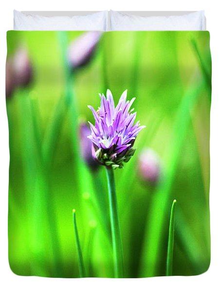 Purple Chives Duvet Cover