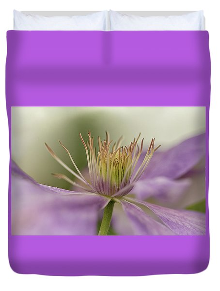 Purple Clematis Macro Duvet Cover