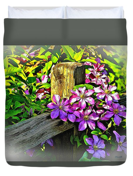 Purple Clematis On Split Rail Fence Duvet Cover