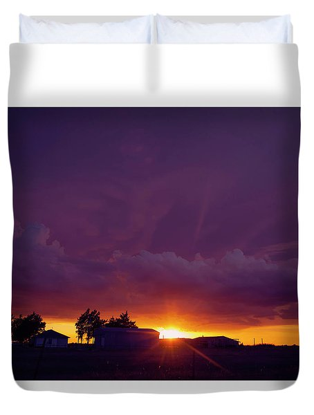 Duvet Cover featuring the photograph Purple Clouds by Toni Hopper