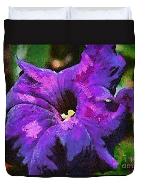 Duvet Cover featuring the painting Purple Color Of Royalty by Dragica  Micki Fortuna