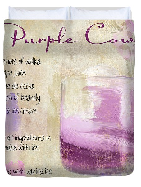 Purple Cow Mixed Cocktail Recipe Sign Duvet Cover by Mindy Sommers