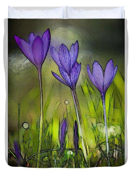 Duvet Cover featuring the photograph Purple Crocus Flowers by Jean Bernard Roussilhe