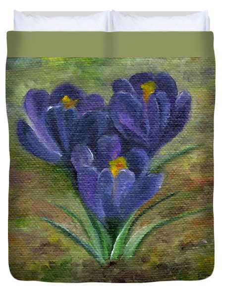 Purple Crocus Duvet Cover
