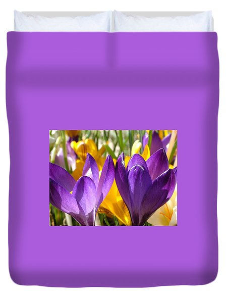 Purple Crocuses Duvet Cover