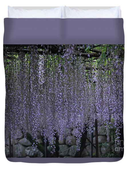 Duvet Cover featuring the photograph Purple Curtain  by Yumi Johnson