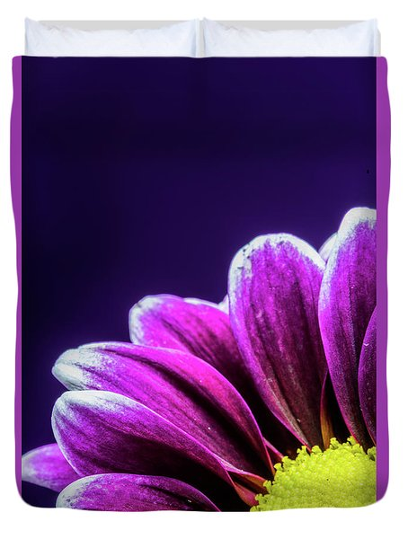 Purple Daisy Being Shy Duvet Cover