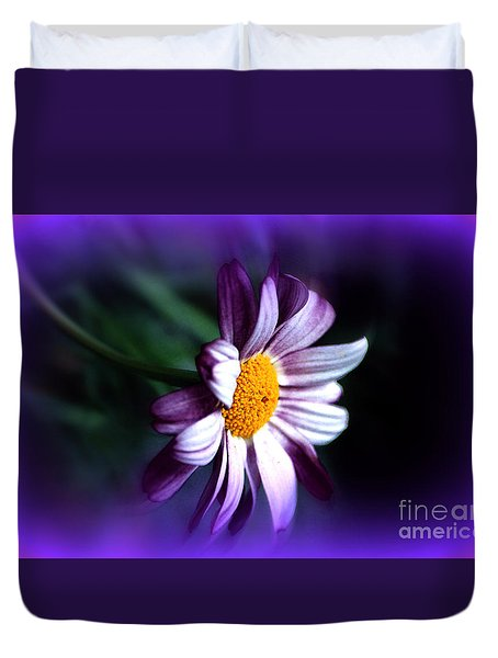 Duvet Cover featuring the photograph Purple Daisy Flower by Susanne Van Hulst