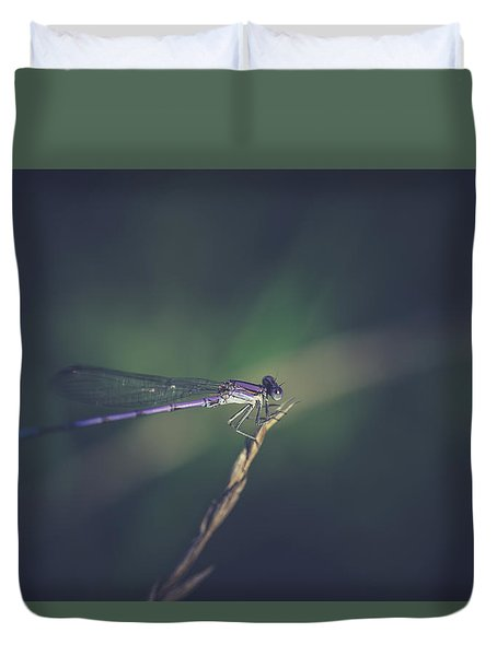 Duvet Cover featuring the photograph Purple Damsel by Shane Holsclaw