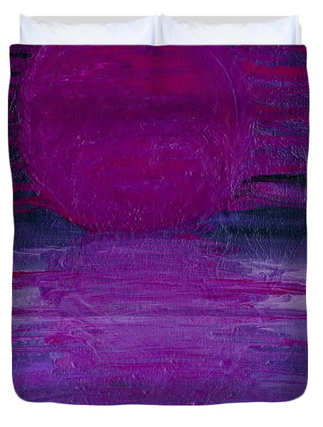 Duvet Cover featuring the painting Purple Dawn by Ania M Milo
