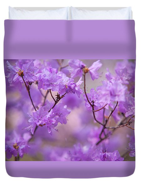 Purple Delight. Spring Watercolors Duvet Cover by Jenny Rainbow