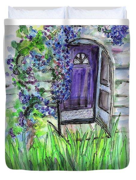 Purple Doorway Duvet Cover