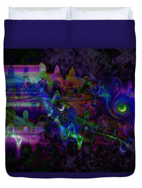 Duvet Cover featuring the digital art Purple Dream by Linda Sannuti