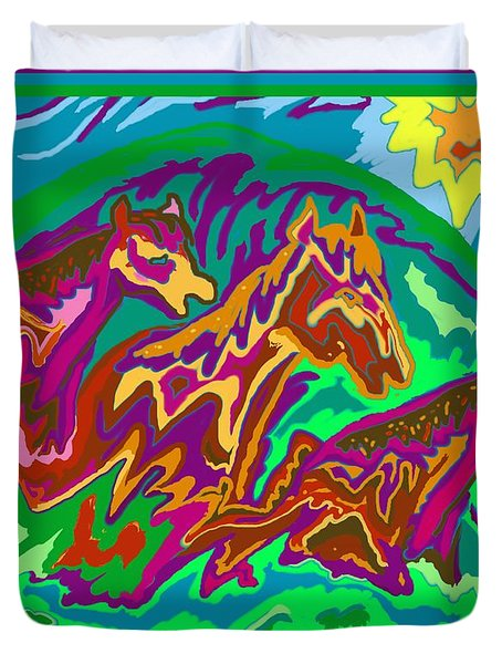 Purple Feathered Horses Duvet Cover