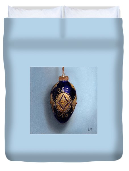 Purple Filigree Egg Ornament Duvet Cover
