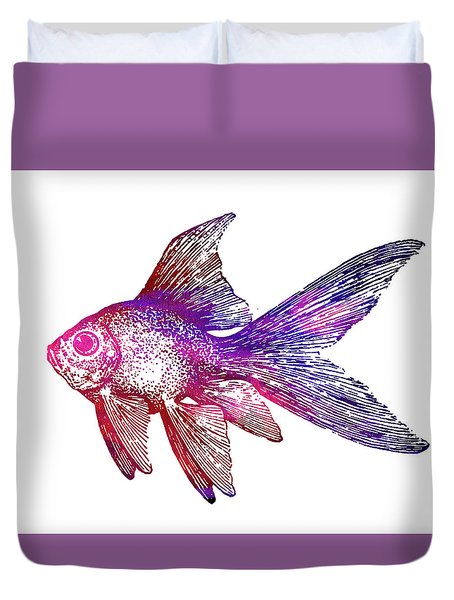 Purple Fish Duvet Cover by Nancy Merkle