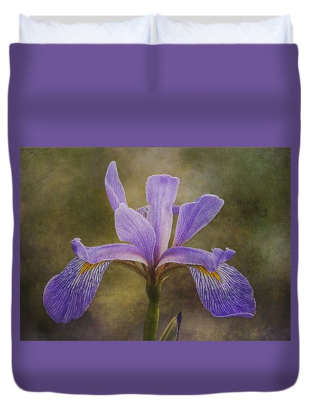 Duvet Cover featuring the photograph Purple Flag Iris by Patti Deters