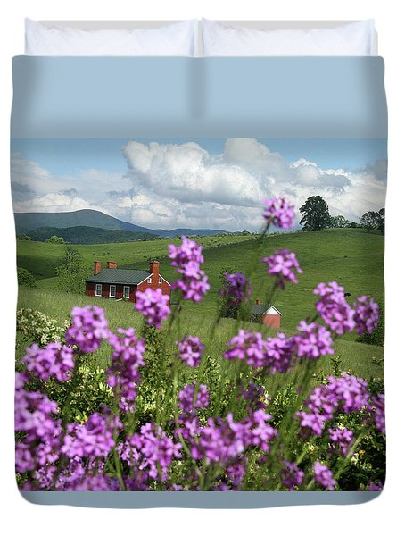 Purple Flower In Landscape Duvet Cover